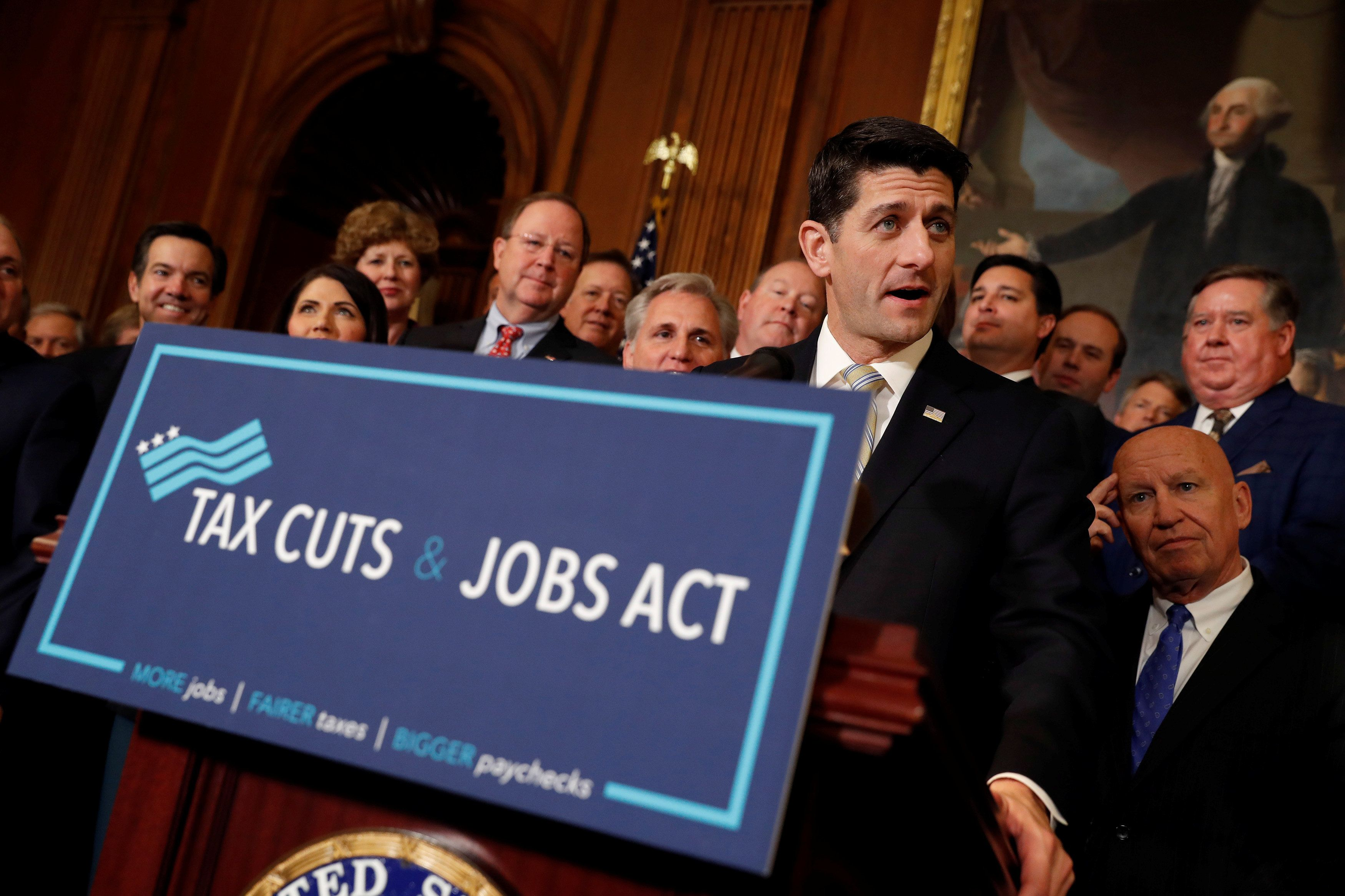 "Speaker of the House Paul Ryan speaks at news conference announcing the passage of the ""Tax Cuts and Jobs Act"" at the U.S. Capitol in Washington, U.S., November 16, 2017. REUTERS/Aaron P. Bernstein"