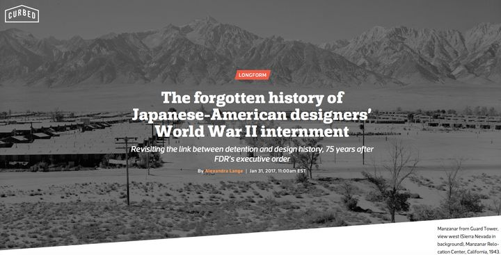 <p>The forgotten history of Japanese-American designers' World War II internment. Screen capture of homepage.</p>