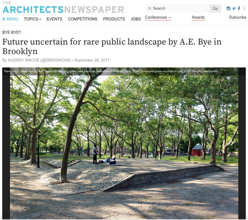 Future uncertain for rare public landscape by A.E. Bye in Brooklyn. Screen capture of homepage.