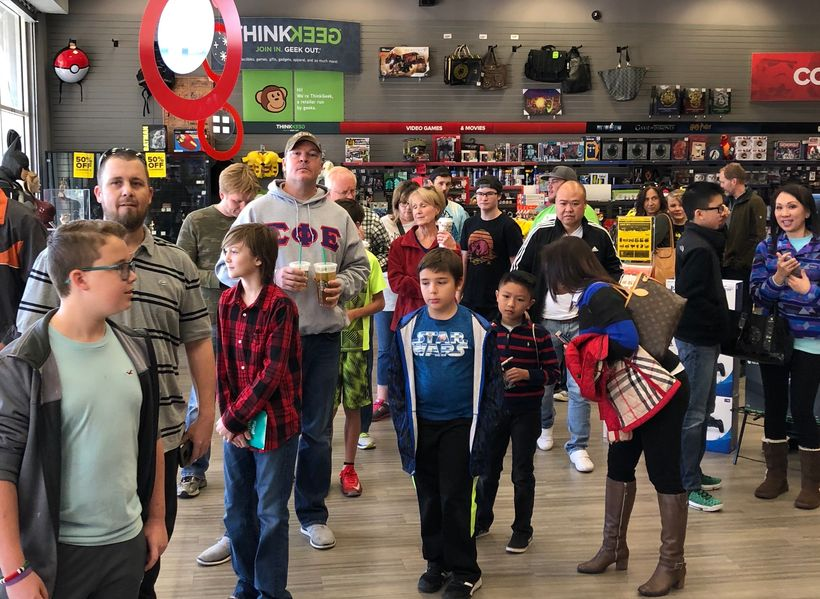 Members of the HartSquad lined up at Dallas Gamestop, located at 2201 Preston Road.