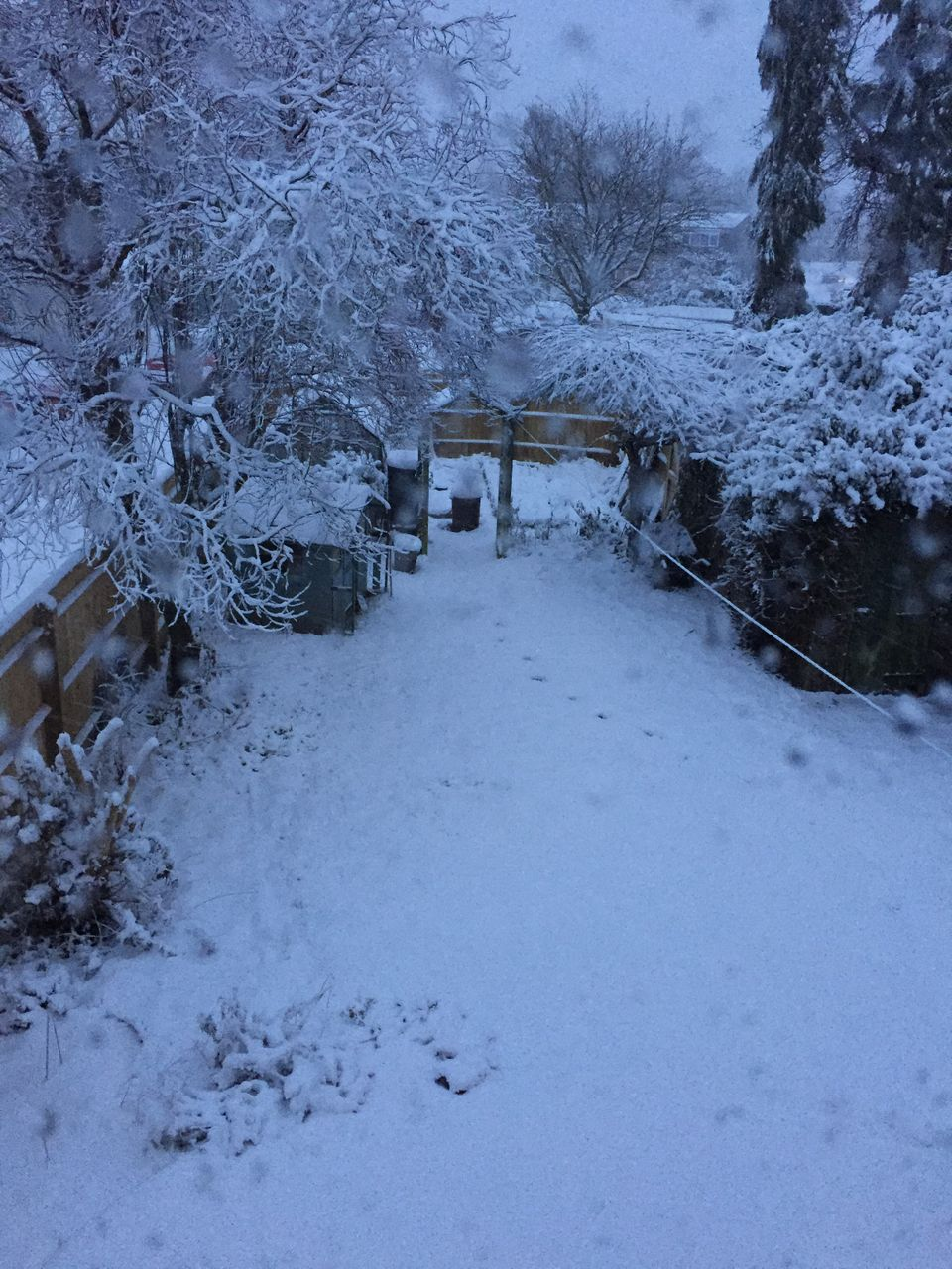 Heavy snow was reported on Sunday morning in