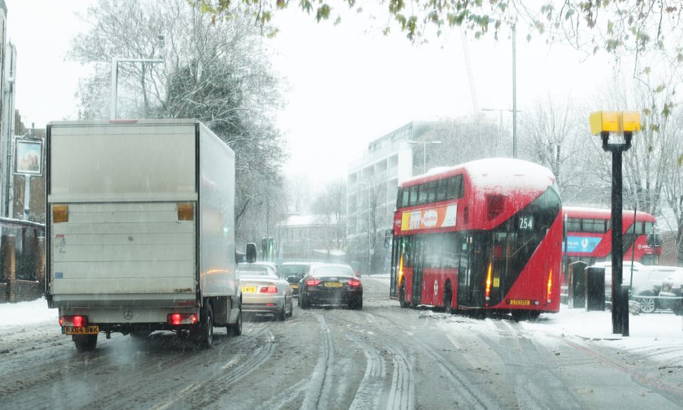 A bus was seen stranded in Camden, north London, after heavy snowfall on