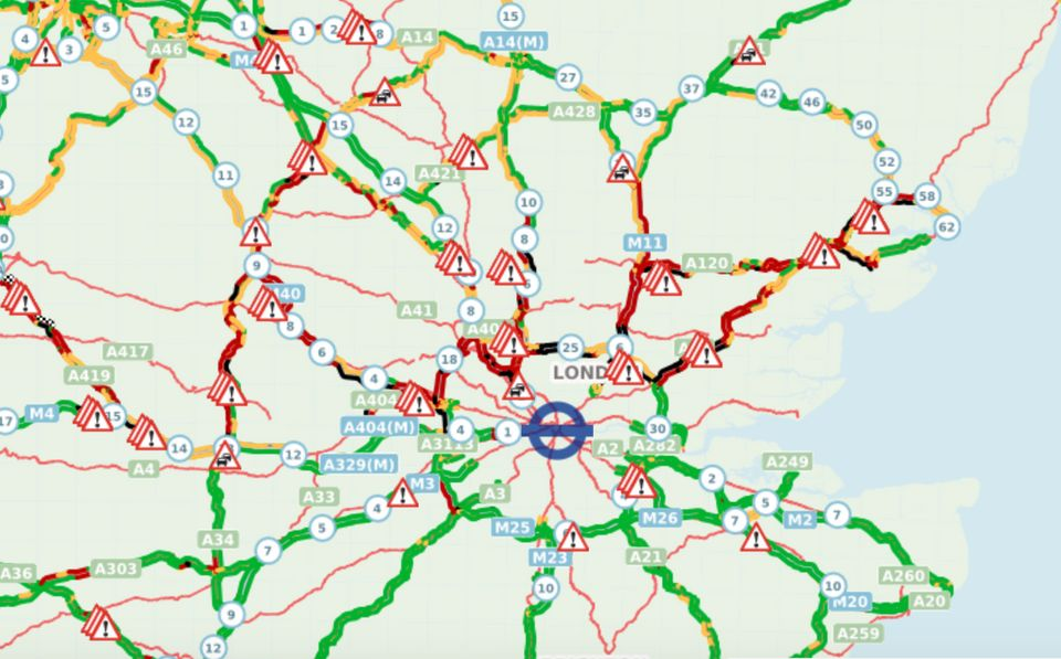 Highways England's traffic map showed traffic was not moving on the M11, M1, A405 and parts of the M25...