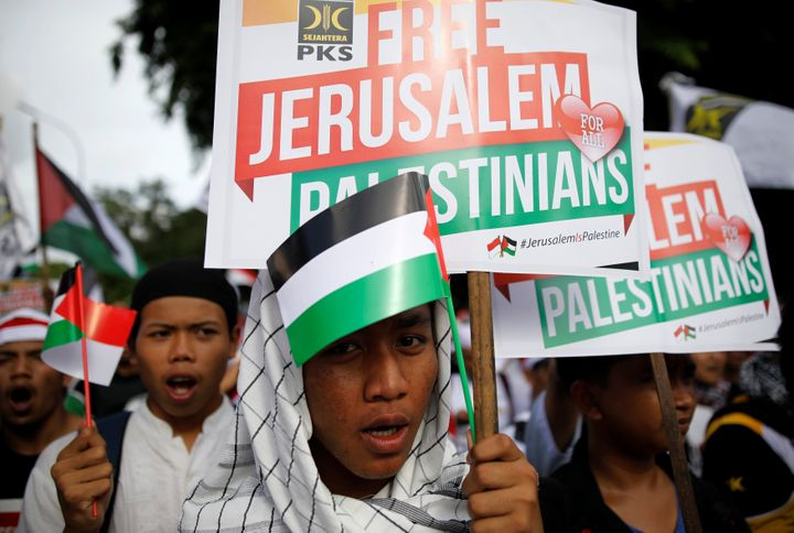 Protesters hold a rally outside the U.S. embassy in Jakarta, Indonesia, to condemn the U.S. decision to recognize Jerusalem a