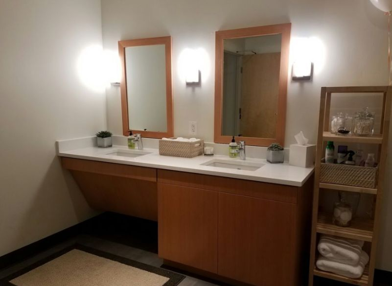 This photo is from the communal bathroom. They have two of these double sinks in that one large bathroom.