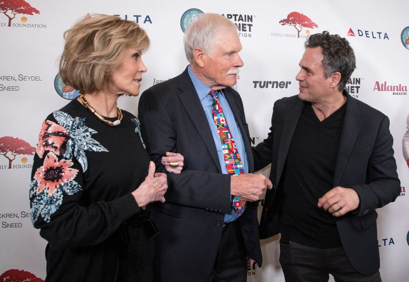 Actor Jane Fonda, left, environmentalist and media mogul Ted Turner and actor and environmentalist Mark Ruffalo, right, talk
