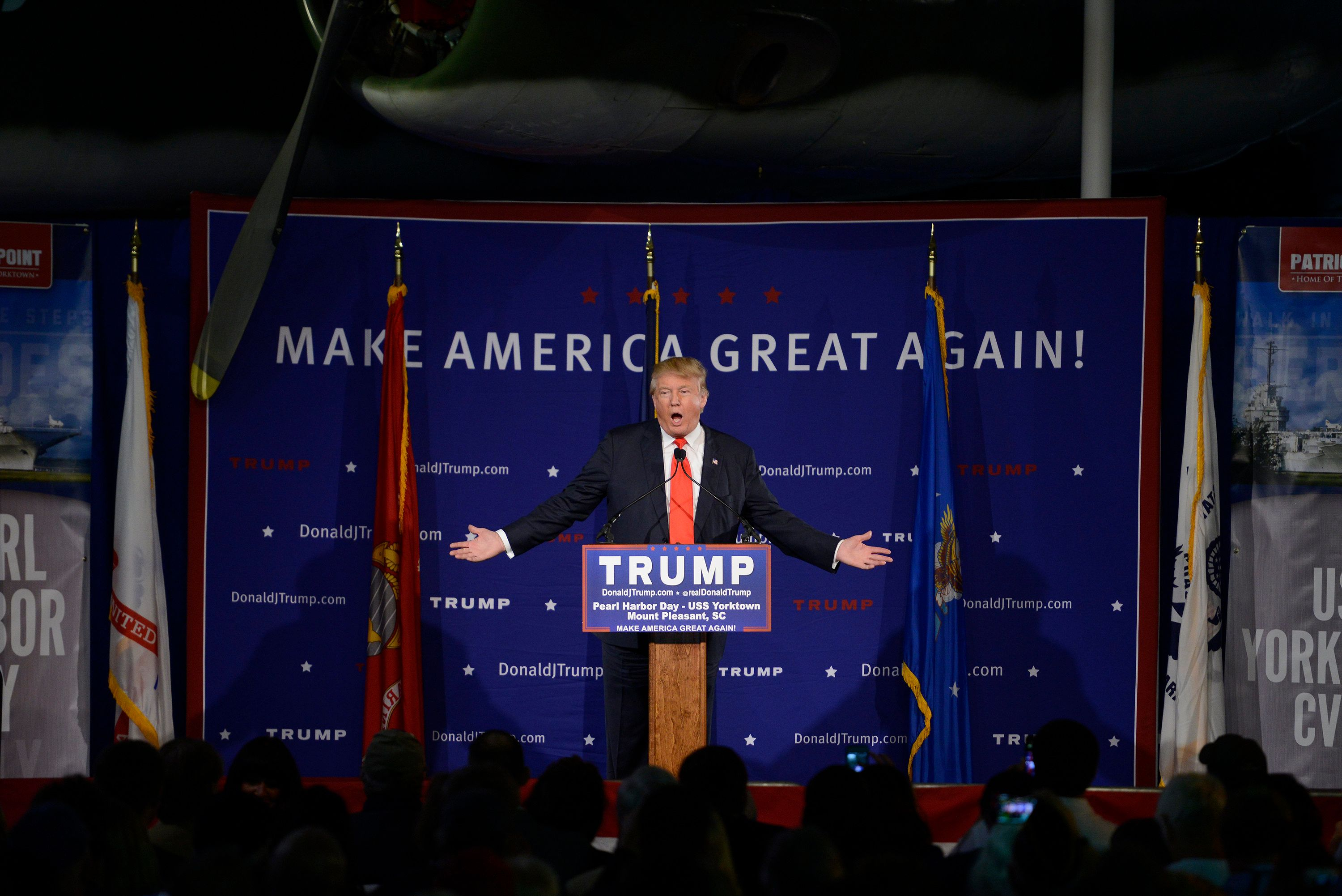 MOUNT PLEASANT, SC - DECEMBER 7: Republican presidential front-runner Donald Trump holds a campaign rally on board the aircraft carrier USS Yorktown on December 7, 2015 in Mount Pleasant, South Carolina.  The candidate called on Monday for a 'total and complete shutdown' of the entry of Muslims to the United States 'until our country's representatives can figure out what is going on.' (Photos by Charles Ommanney/The Washington Post via Getty Images)
