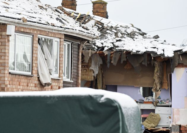 The scene in Allington Drive, Leciester, after a gas explosion on Monday