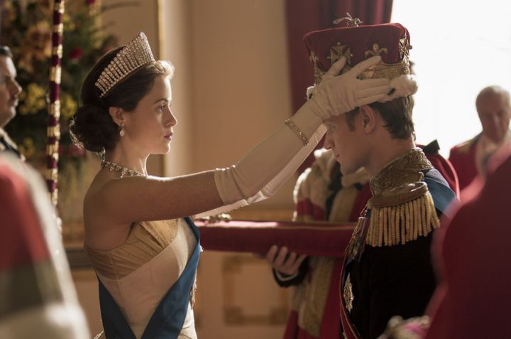 """Claire Foy and Matt Smith in """"The Crown."""""""