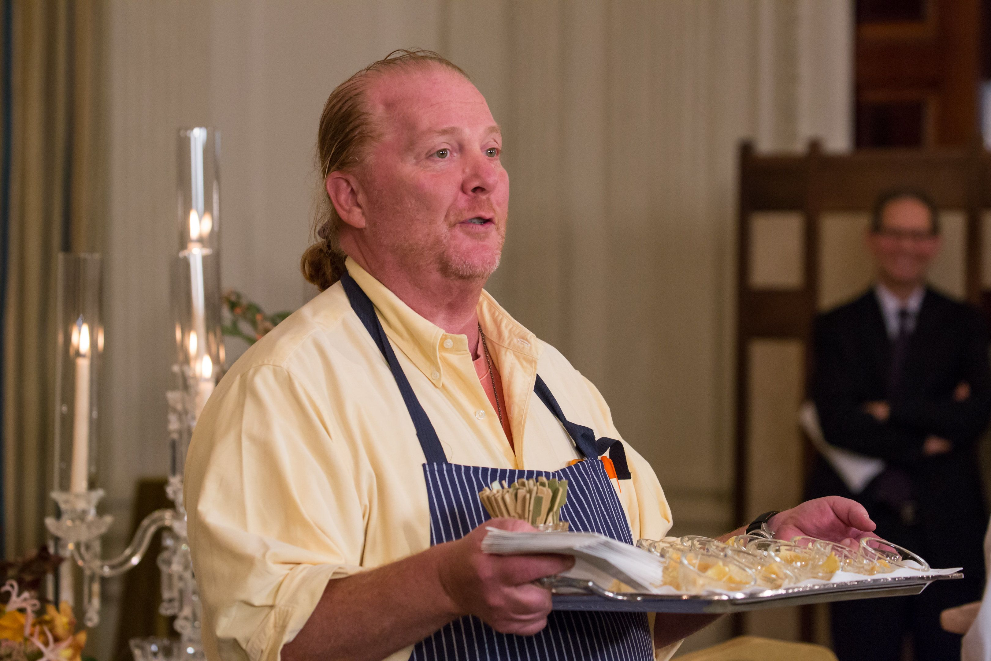 guest Chef Mario Batali, speaks to press during a press preview in the State Dining Room of the White House, in advance of the State Dinner in honor of the Official Visit of Prime Minister Matteo Renzi and his wife, Mrs. Agnese Landini, of Italy.Chef Batali served a sample from the menu to press of Sweet Potato Agnolotti with Butter and Sage.     in Washington, DC, USA, on October 17th, 2016. (Photo by Cheriss May/NurPhoto via Getty Images)