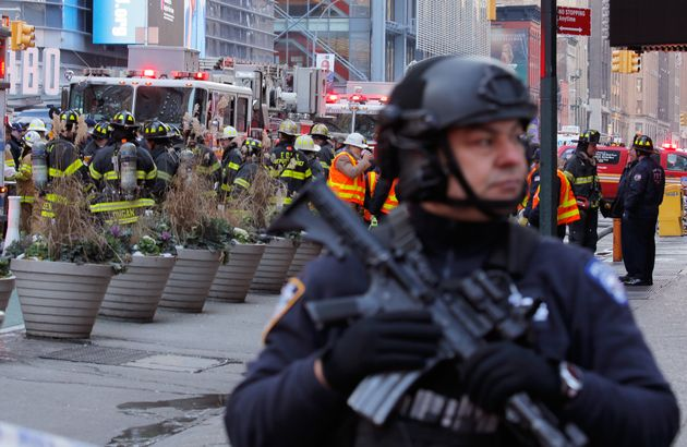 A police officer stands guard after the