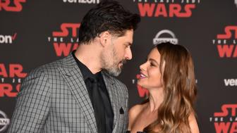 LOS ANGELES, CA - DECEMBER 09:  Joe Manganiello and Sofia Vergara attend the premiere of Disney Pictures and Lucasfilm's 'Star Wars: The Last Jedi' at The Shrine Auditorium on December 9, 2017 in Los Angeles, California.  (Photo by Kevin Mazur/WireImage)