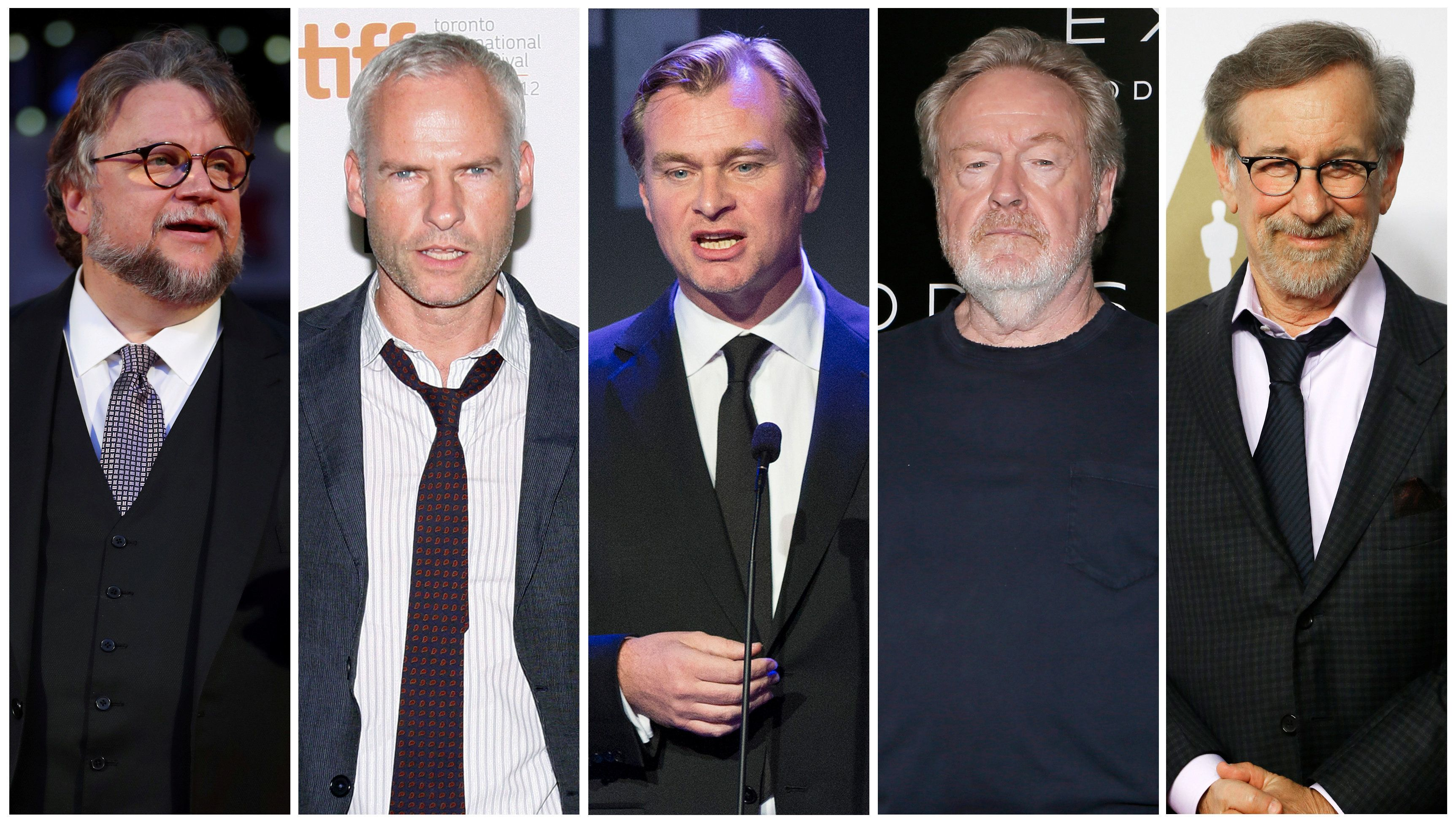 Nominees for the 75th Golden Globe Awards, Best Director, Motion Picture category, (L-R) Guillermo del Toro, Martin McDonagh, Christopher Nolan, Ridley Scott and Steven Spielberg are seen in a combination of file photos.  REUTERS/File Photos