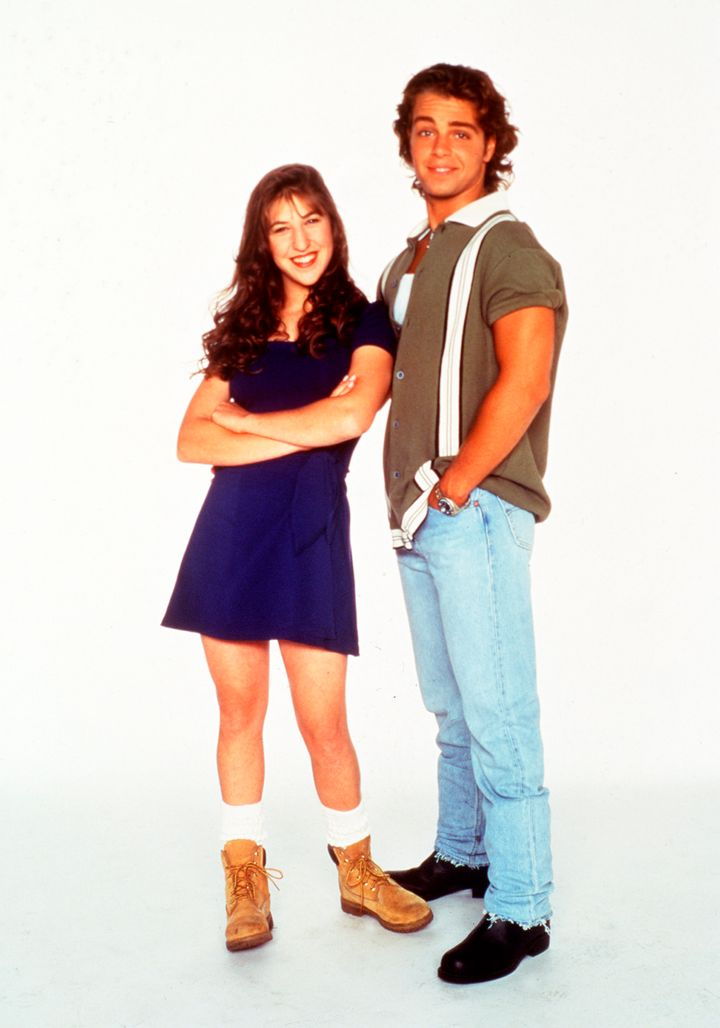 """Mayim Bialik and Joey Lawrence in a publicity shot for season 5 of """"Blossom."""""""