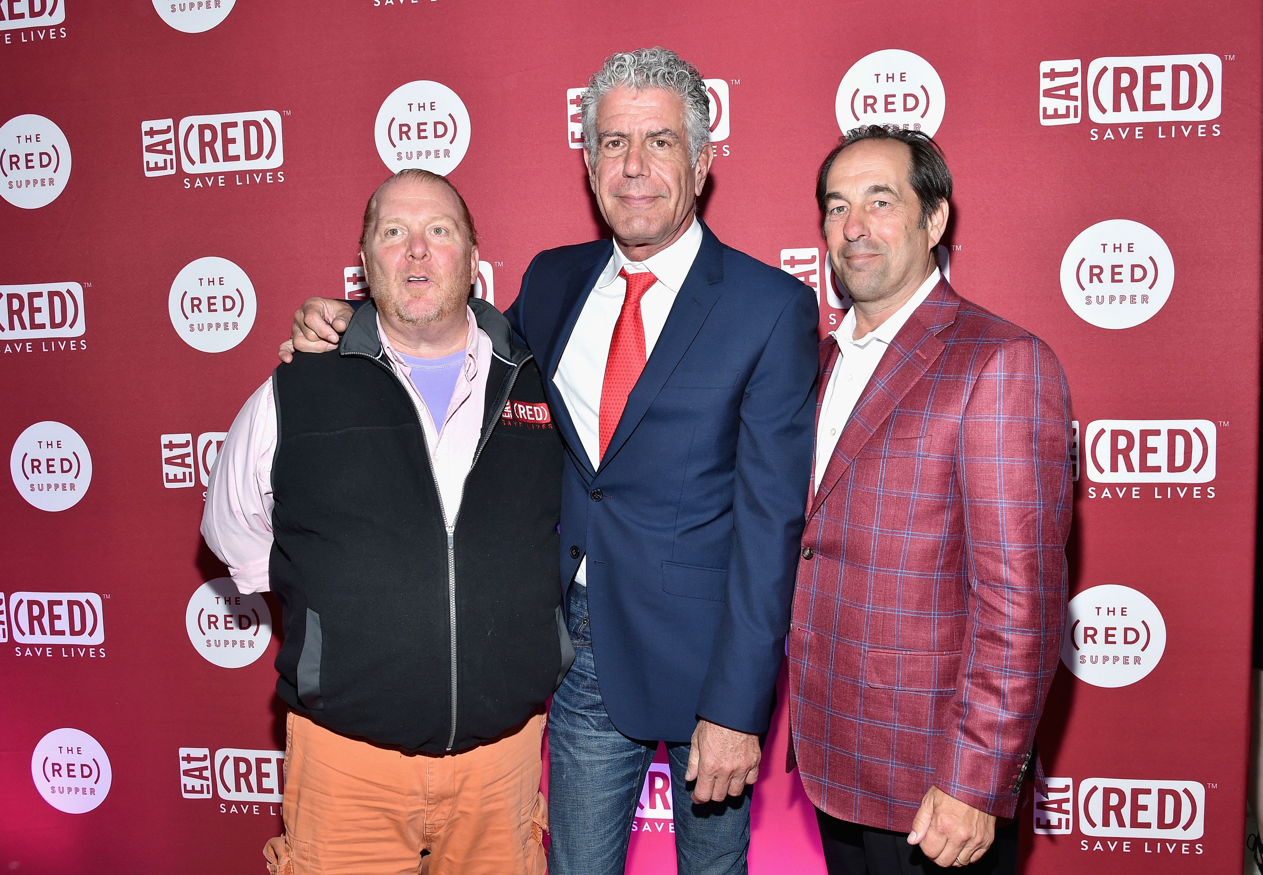 NEW YORK, NY - JUNE 02:  (L-R) Chef Mario Batali, Chef Anthony Bourdain, and Joseph Carr attend The (RED) Supper hosted by Mario Batali with Anthony Bourdain on June 2, 2016 in New York City.  (Photo by Mike Coppola/Getty Images)