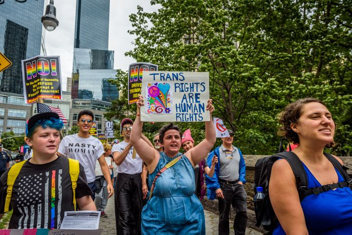 Protesters in New York in July ask the Trump administration to end discrimination toward the LGBTQ community.