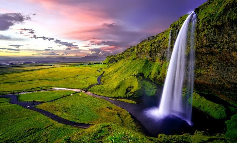 Water falling in Iceland.