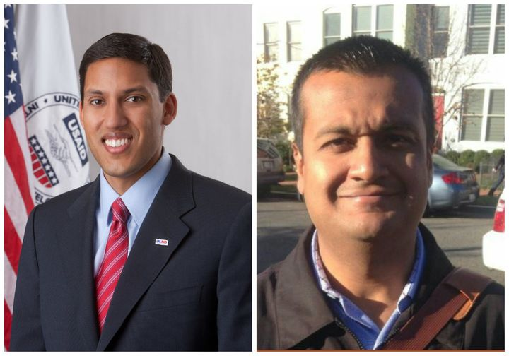 Raj Shah on the left served in the Obama administration. Raj Shah on the right handles communicationsin the Trump White