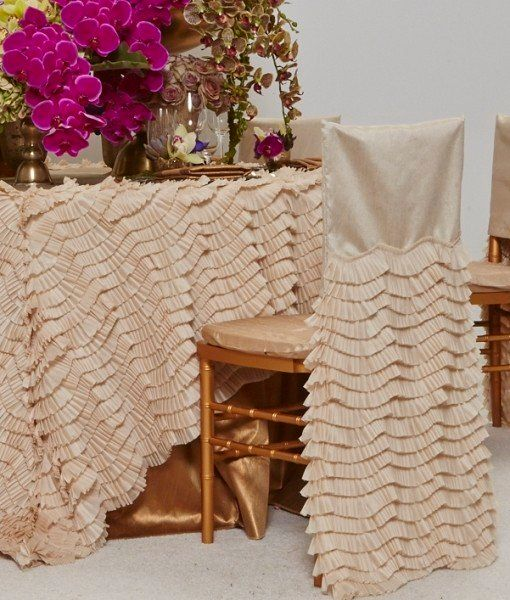 Chertoff has been seeing a lot of ruffled skirts in wedding gowns to create that soft-layered look. She suggests adding