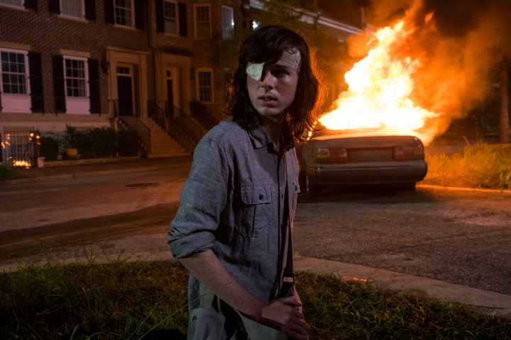 "Chandler Riggs as Carl Grimes on ""The Walking Dead."""