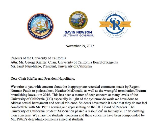 The opening of the letter from Gavin Newsom, Paul Monge and Tom
