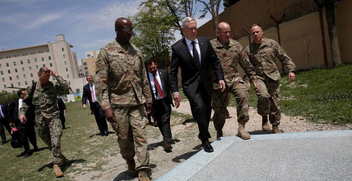 Secretary of Defense James Mattis is greeted by U.S. Army commanders in Kabul, Afghanistan on April 24, 2017.