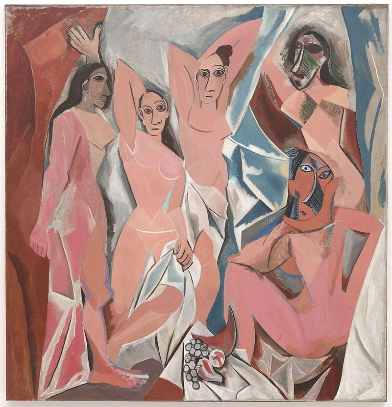 "Pablo Picasso, ""Les Demoiselles d'Avignon,"" oil on canvas, 244 x 234 cm."