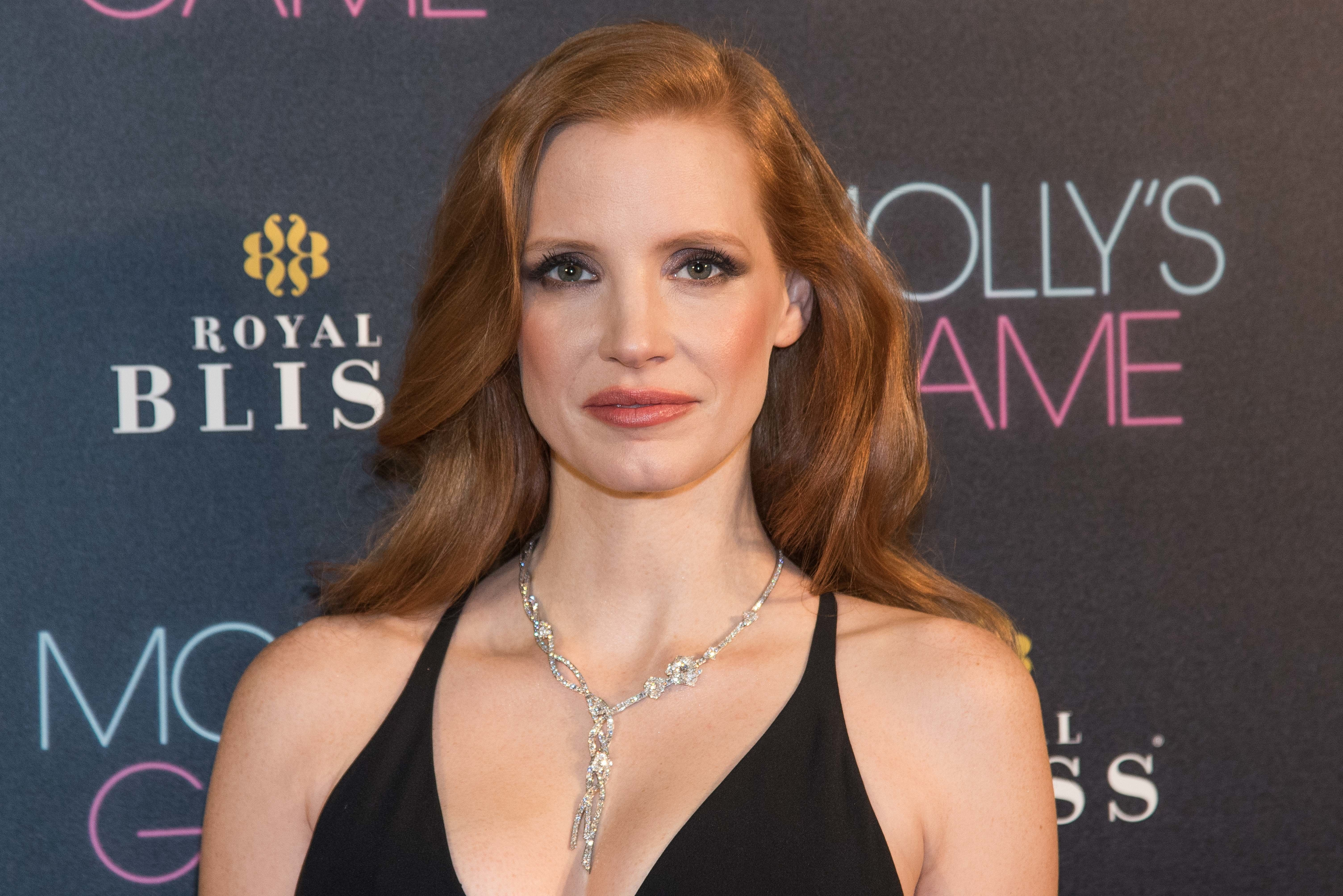 Jessica Chastain attends the 'Molly's Game' movie premiere at 'Capitol Cinema' in Madrid on Dec 4, 2017 (Photo by Gabriel Maseda/NurPhoto via Getty Images)