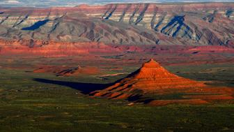 MEXICAN HAT, UT - JUNE 11: The sun sets over Bears Ears National Monument seen from the Moki Dugway June 11, 2017 north of Mexican Hat, UT.   President Trump announced Monday that he is scaling back Bears Ears by 1.1 million acres. (Photo by Katherine Frey/The Washington Post via Getty Images)