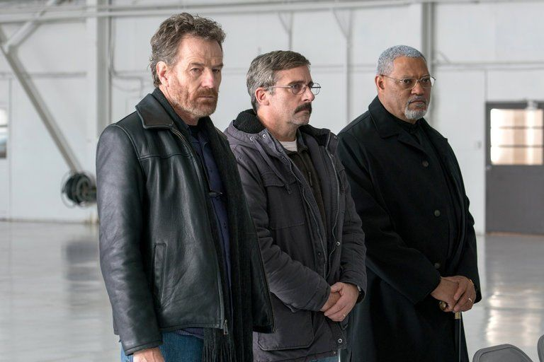 "Bryan Cranston, Steve Carell and Laurence Fishbourne in ""Last Flag Flying""."