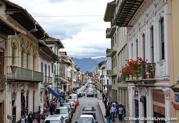 Street view of Old Town, Cuenca, Ecuador.
