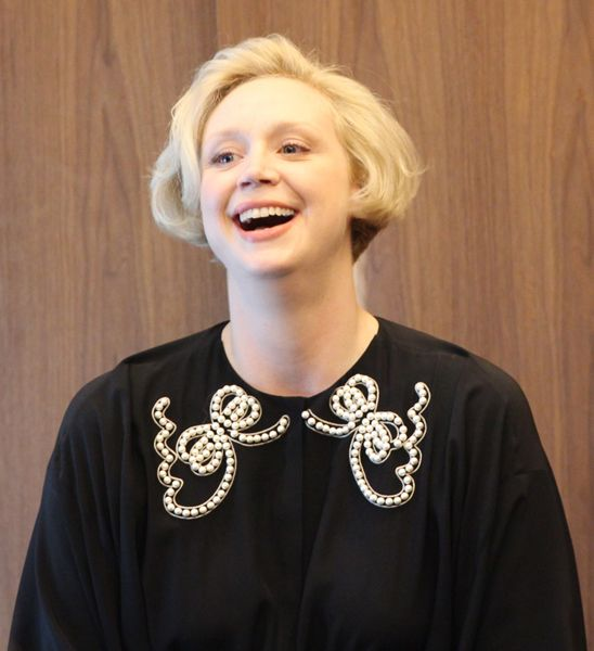 Gwendoline Christie meets with writers at the STAR WARS: THE LAST JEDI press event