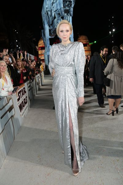 Gwendoline Christie arrives on the red carpet for the world premiere of Star Wars: The Last Jedi