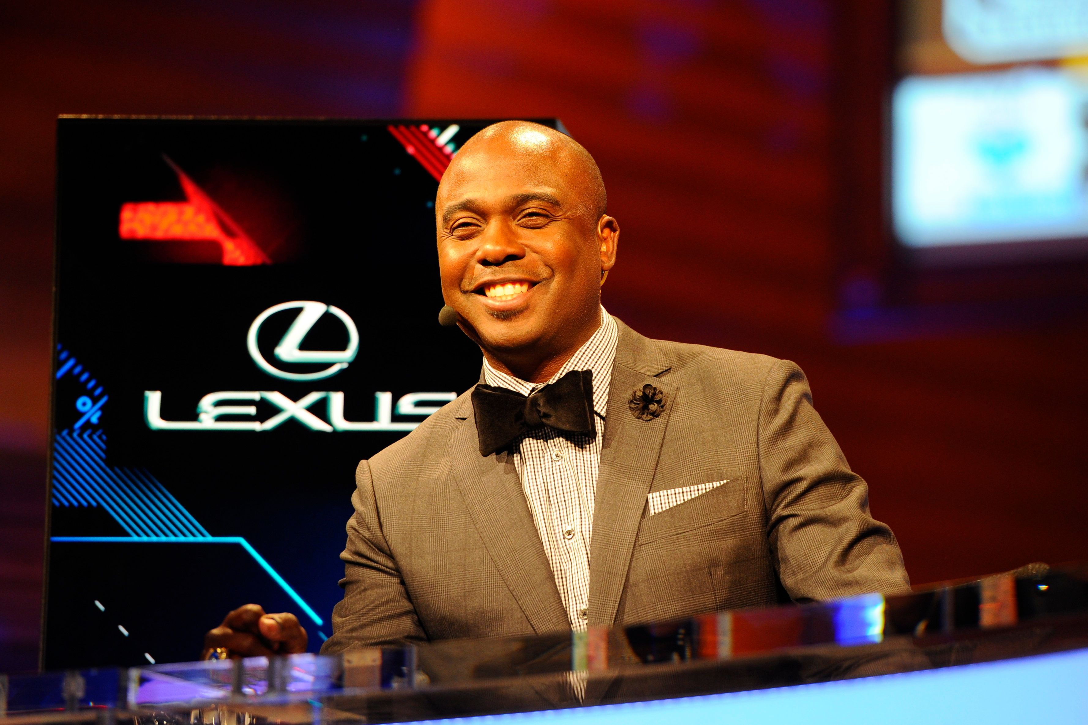May 8, 2014: Former NFL player and NFL Network commentator Marshall Faulk broadcasts prior to the start of the first round of the NFL Draft at Radio City Music Hall in Manhattan, NY. (Photo by Rich Kane/Icon SMI/Corbis via Getty Images)