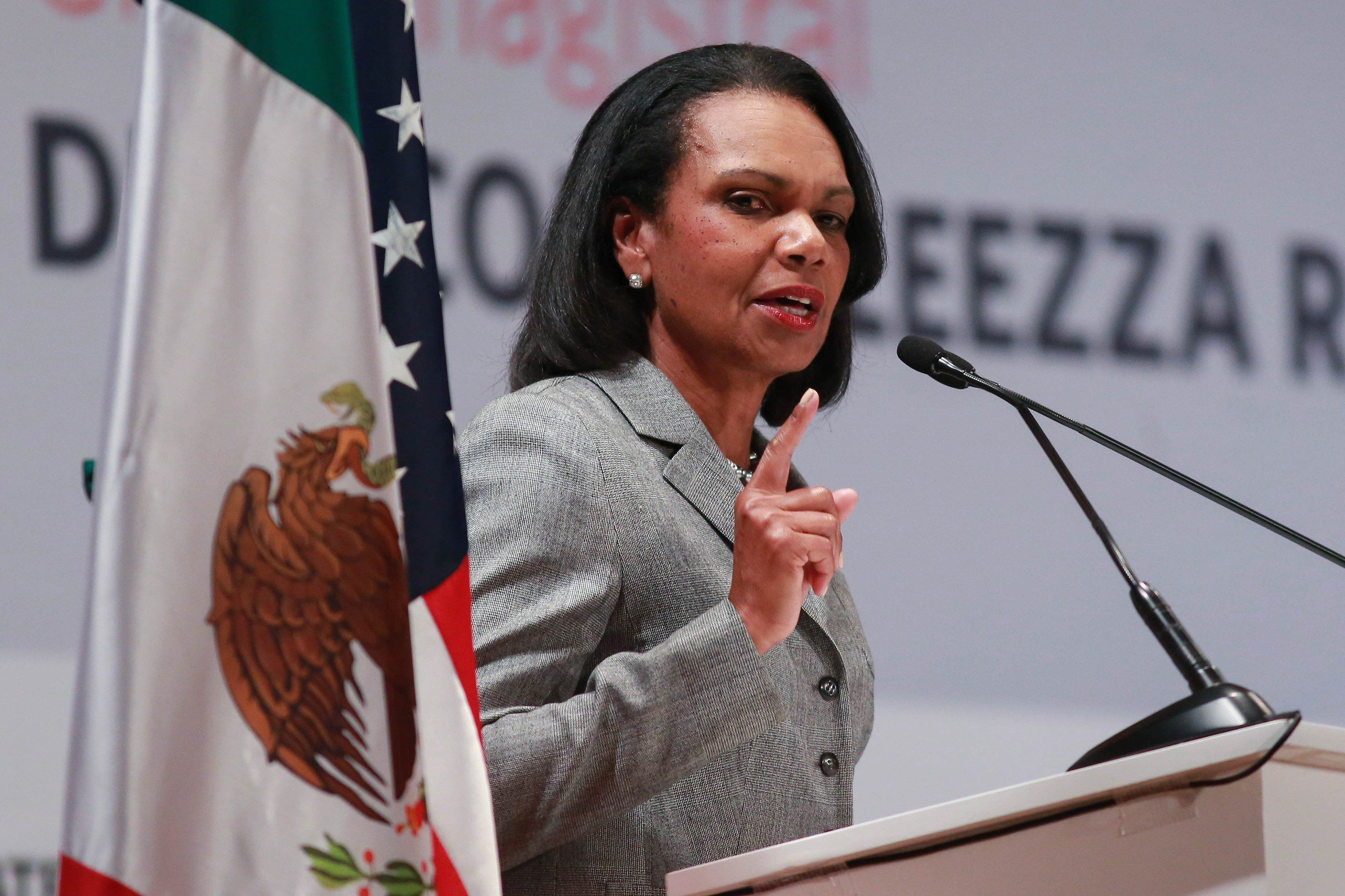 MEXICO CITY, MEXICO -  NOVEMBER 28: Former United States Secretary of State, Condoleezza Rice makes a speech during a the 'Democracy and Liberty' conference at UVM University in Mexico City, Mexico on November 28, 2017. (Photo by Daniel Cardenas/Anadolu Agency/Getty Images)