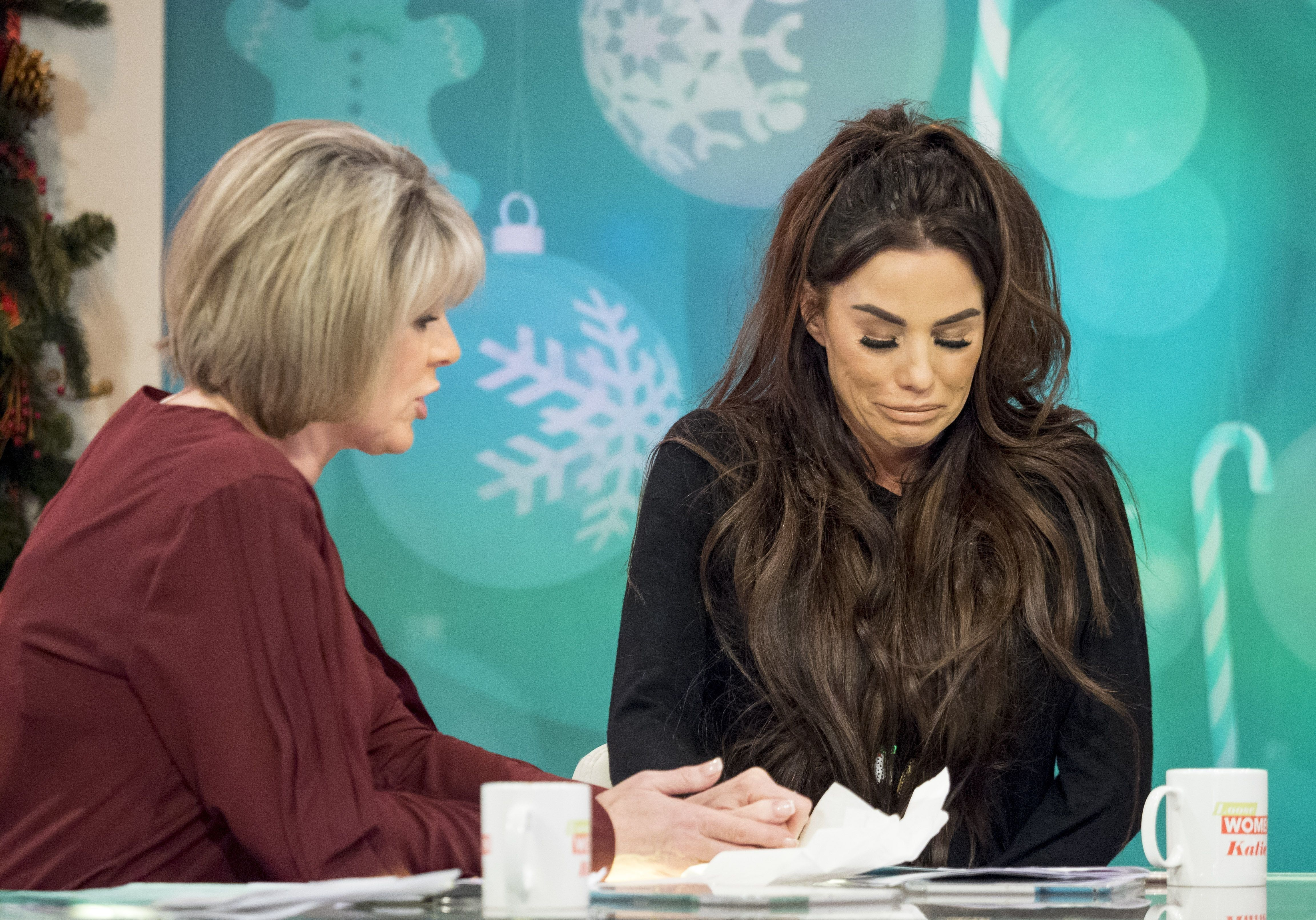 Katie Price (right) with 'Loose Women' host Ruth