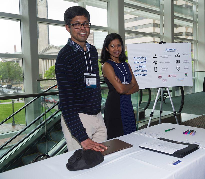 Dr. Abhinav Parate and Dr. Akshaya Shanmugam at the Valley Venture Mentors Accelerator Program Awards Ceremony in Springfield