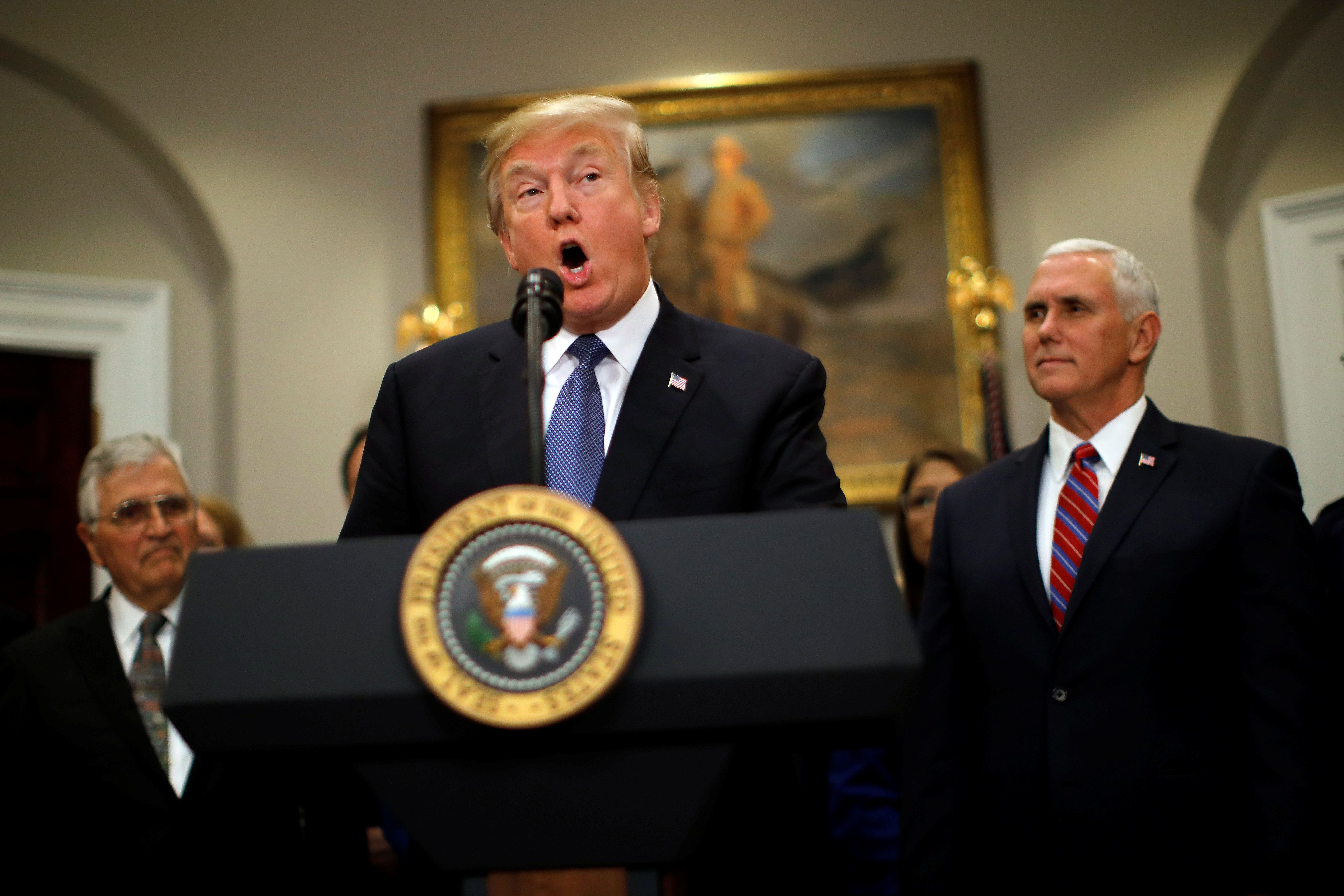U.S. President Donald Trump and Vice President Mike Pence participate in a signing ceremony for Space Policy Directive at the White House in Washington D.C., U.S. December 11, 2017. REUTERS/Carlos Barria