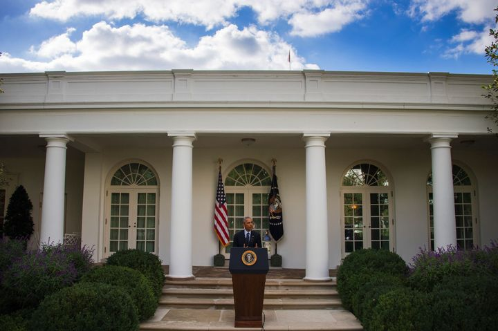President Barack Obama speaks about the Paris Agreement from the Rose Garden of the White House in Washington, DC, October 5,