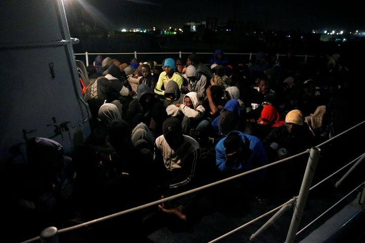 Migrants arrive at a naval base in Tripoli after they were intercepted by the Libyan Coast Guard on Dec. 8.