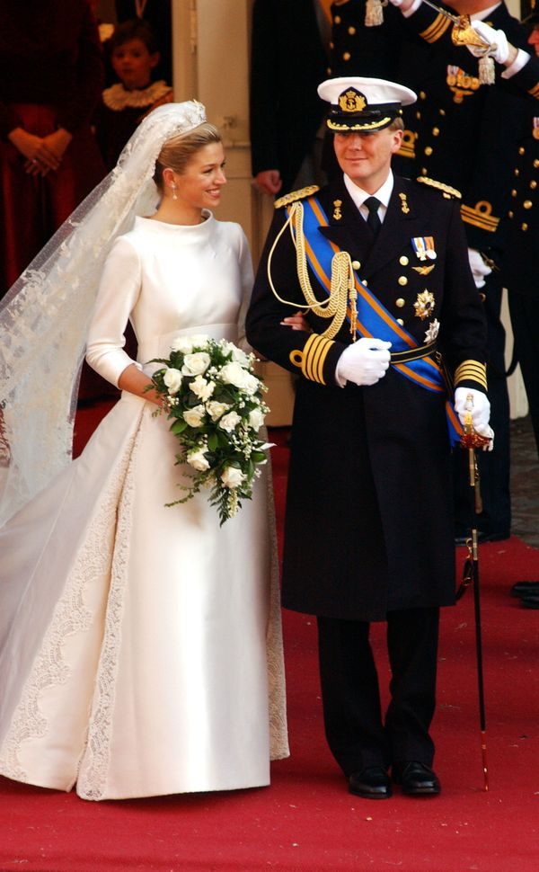 Maxima Zorreguieta wore a classic gown with a high neck and bracelet-length sleeves for her wedding to then-Crown Prince Will