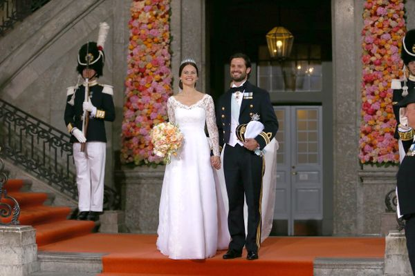 Like the Duchess of Cambridge, Sofia Hellqvist chose a dress with long lace sleeves for her wedding to Prince Carl Philip of