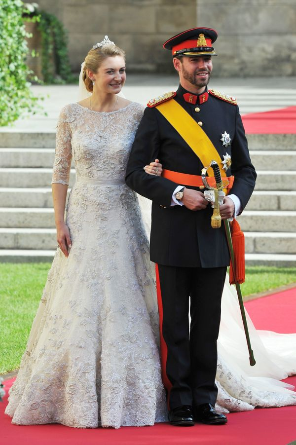 Countess Stéphanie de Lannoy wore a beautiful lace Elie Saab gown for her wedding to Hereditary Grand Duke Guillaume i