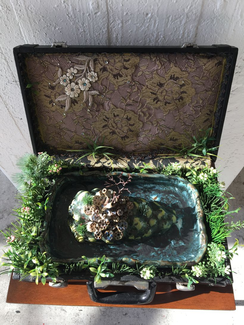 Lina Puerta, <em>Island of Langerhans </em>(fountain), Clay, glaze, fabric, rhinestones, applique, polyurethane foam, glue, m