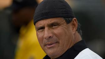 OAKLAND, CA - SEPTEMBER 03:  Former Oakland Athletics Jose Canseco looks on prior to the start of the game between the Boston Red Sox and Oakland Athletics at Oakland-Alameda County Coliseum on September 3, 2016 in Oakland, California.  (Photo by Thearon W. Henderson/Getty Images)