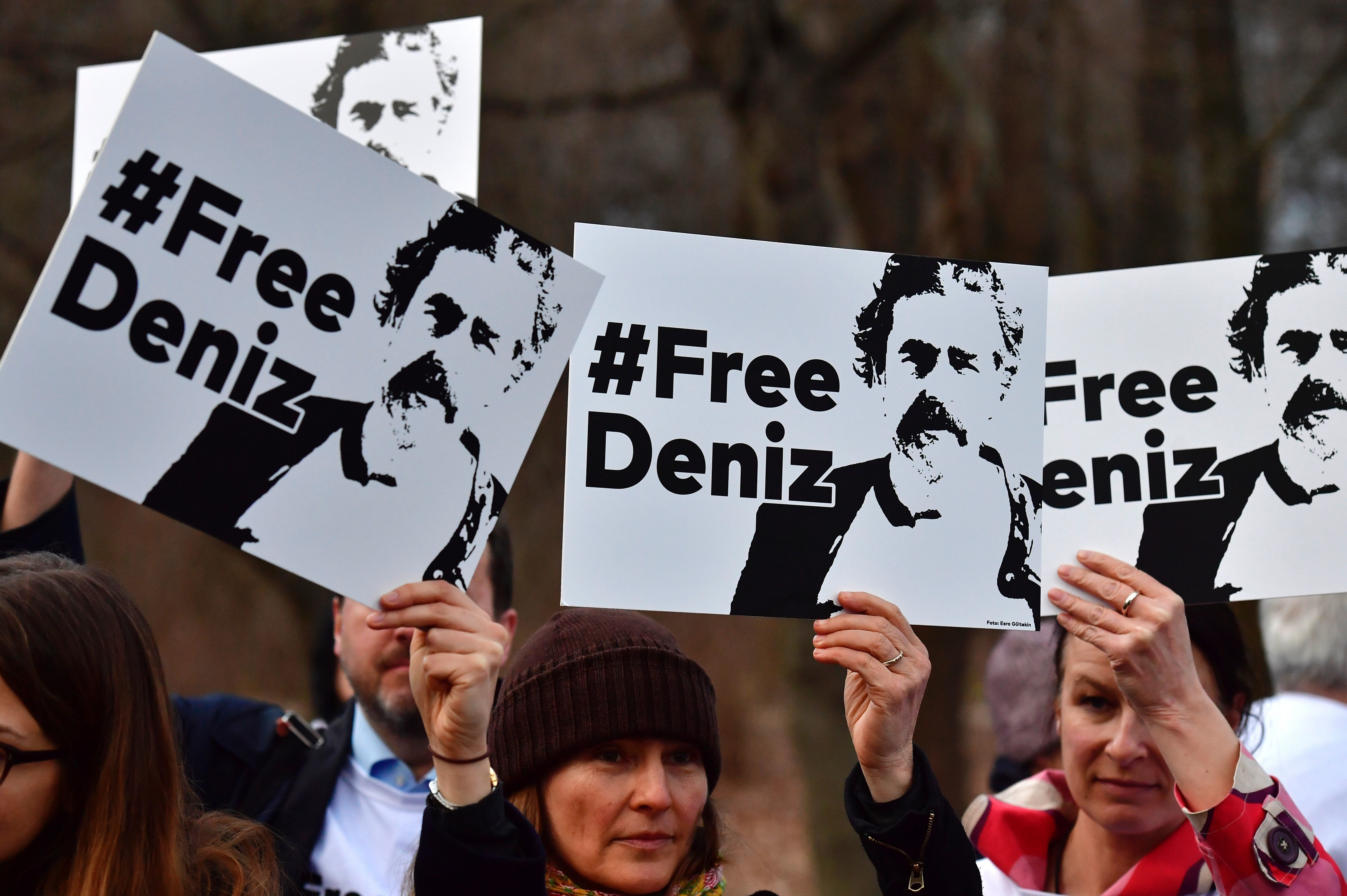 Protesters in Berlin call for the release of German journalist DenizYücel,who has been...