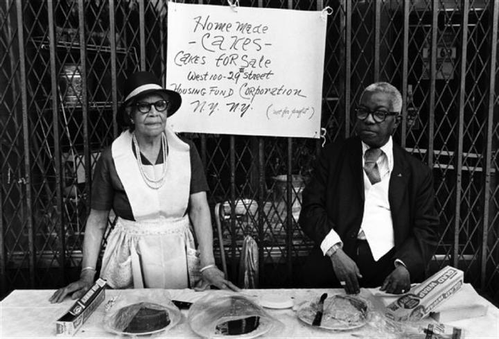 "<p><em>A Man and Woman at an Outdoor Bake Sale</em> from Dawoud Bey, ""<em>Harlem, U.S.A.""</em> series, 1975-79</p>"