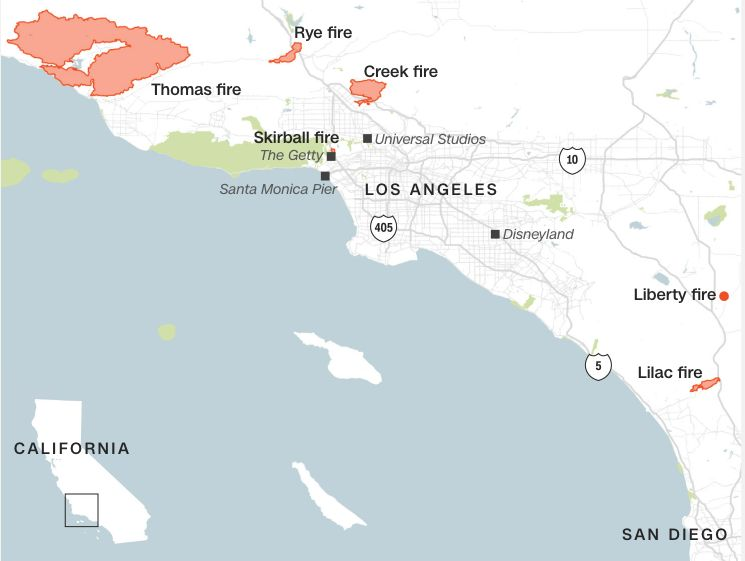 Fire map during the second week of December 2017, Southern California.