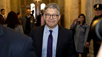 Senator Al Franken, a Democrat from Minnesota, walks through the U.S. Capitol before speaking on the Senate floor in Washington, D.C., U.S., on Thursday, Dec. 7, 2017. Franken announced Thursday hell resign to end the turmoil over allegations that he groped or tried to forcibly kiss several women after more than half of his Democratic colleagues demanded he step down to make clear that mistreatment of women is unacceptable. Photographer: Andrew Harrer/Bloomberg via Getty Images