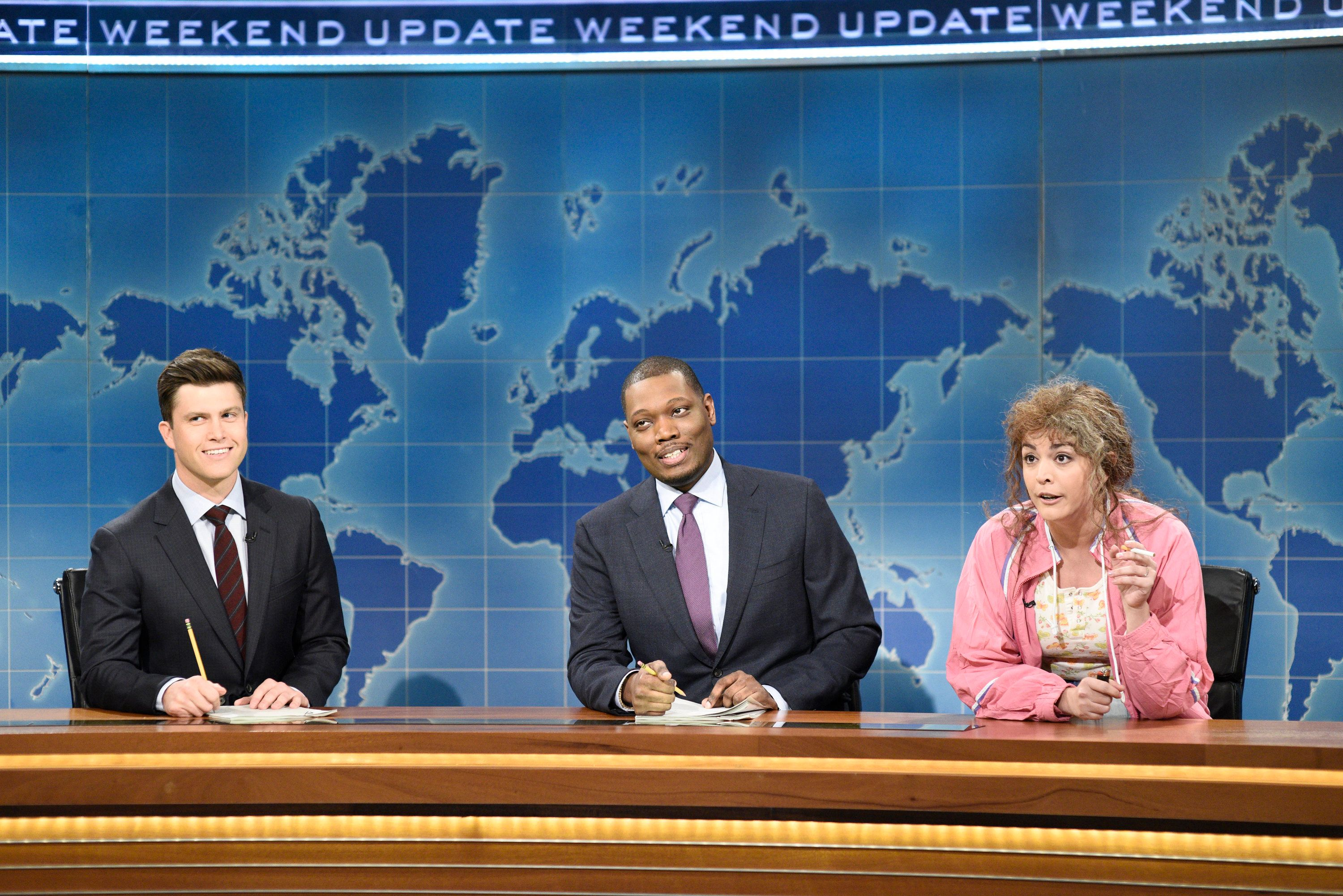 Michael Che, center, with Colin Jost and Cecily Strong, just made history.